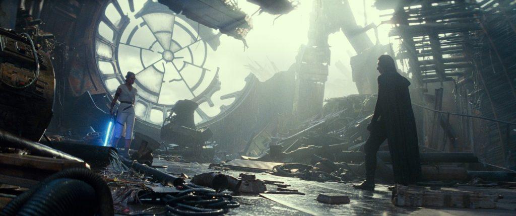 Rey et Kylo Ren ruines de l'étoile noire
